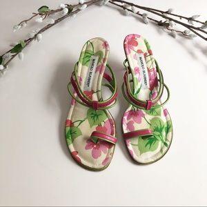 Manolo Blahnik Floral Strappy Kitten Heel Sandals